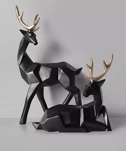 2 in 1 Couple Lucky Deer Sculpture