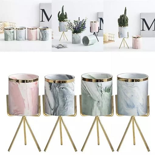 Marble Ceramic Flowerpot On Gold Metal Stand