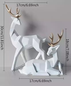 2 in 1 Couple Lucky Deer Sculpture